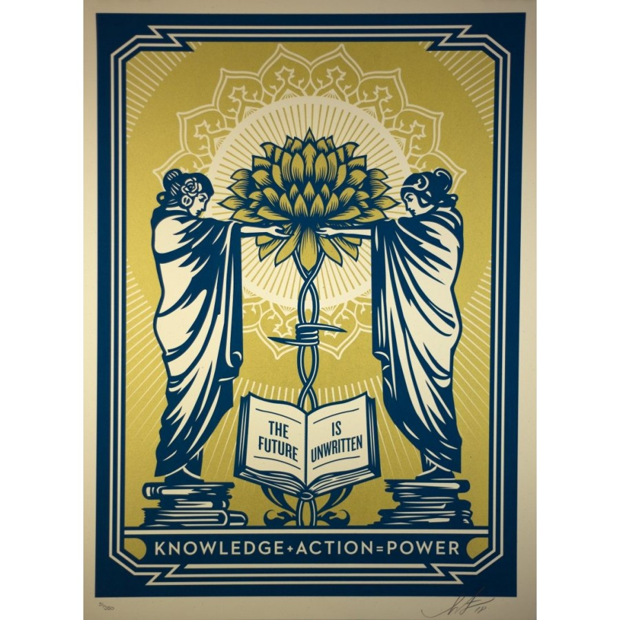 242 Shepard Fairey Obey - Knowledge Action Power (Blue/Gold)