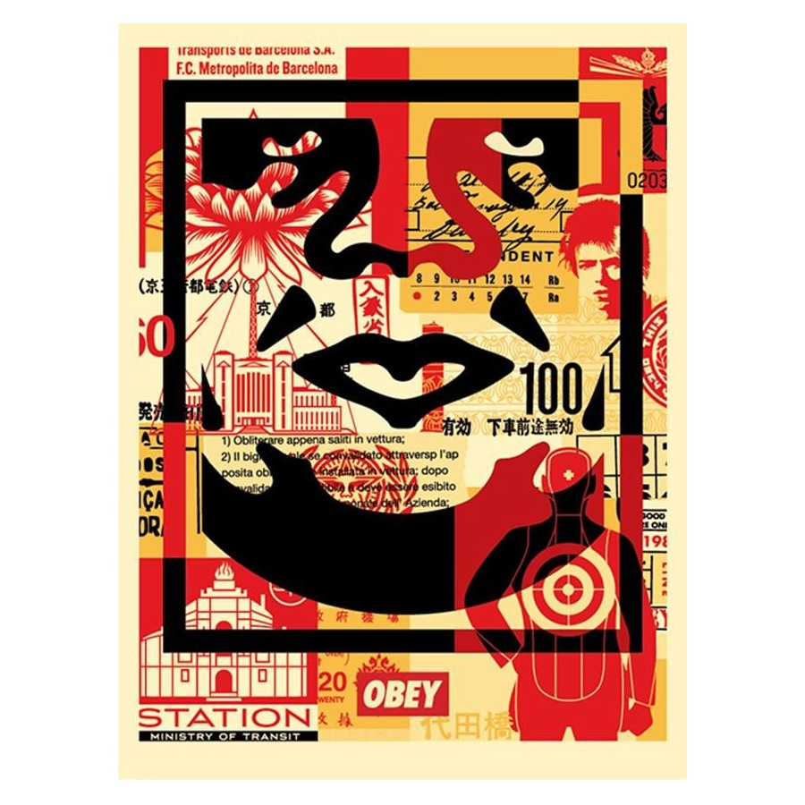 Shepard Fairey Obey - FACE COLLAGE BAS